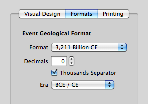 Options for formatting timelines with a geological scale