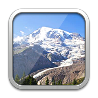 Button with image of a mountain, from Timeline 3D